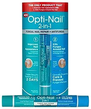 Opti-Nail 2-in-1 Fungal Nail Repair Plus Antifungal Improves Nail Appearance and Kills Fungus Around Nail.