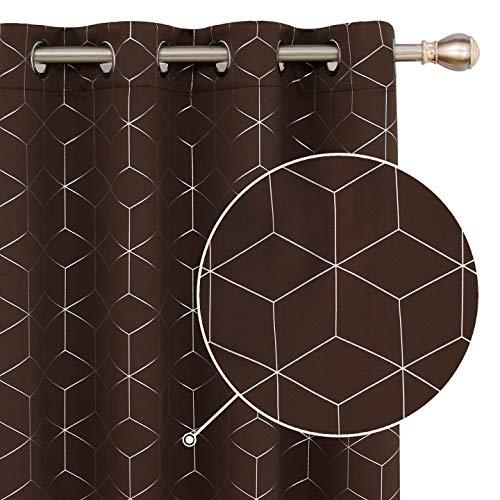 Deconovo Cortinas Salón Habitacion Opacas Modernas Térmicas Aislante Decorativas con Ojales 2 Piezas 168x183cm Chocolate