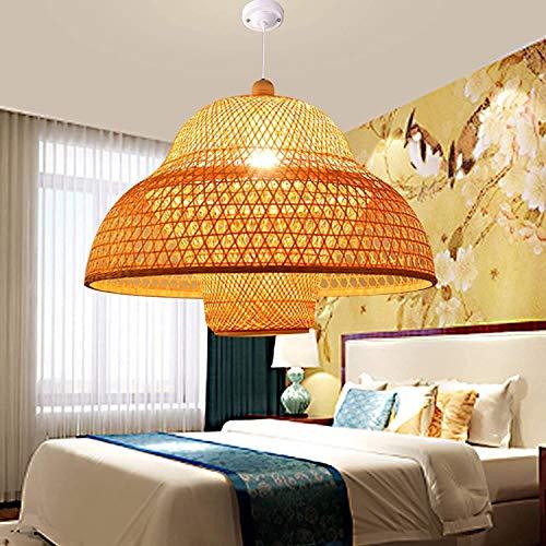 ZSAIMD Moderna de bambú tejido de la cesta de techo del bulbo de la lámpara Fixture Con colgante Luz de techo del accesorio de iluminación de la sala de estar dormitorio casa de té del café del restau
