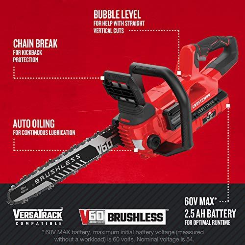 CRAFTSMAN V60 Cordless Chainsaw, 16-Inch (CMCCS660E1)