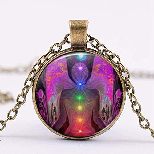 Collar Moda Zen Budismo Amuleto Collar 7 Chakra Reiki Buda Collar con colgante de cristal Regalo para el amante del yoga Gargantilla Collar con colgante Regalo para hombres Mujeres Niñas Niños