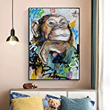 Cuadro de Lienzo de Mono Lindo para habitación de bebé, Carteles e Impresiones artísticos de Graffiti de Animales, Cuadro de Arte de Pared de guardería para decoración de habitación de niños