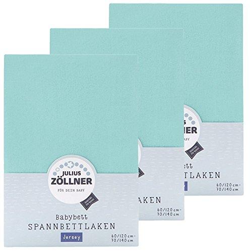Zöllner Spannbetttuch Jersey 70x140 / 60x120 Mint 3er Pack