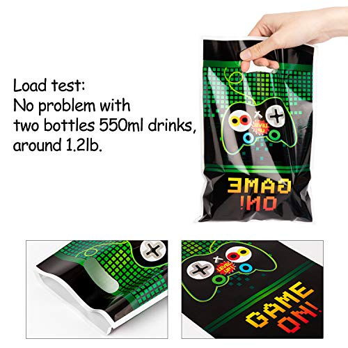 PANTIDE Video Games Party Favor Bags, Game On Plastic Loot Gifts Bags, Gaming Goody Candy Treat Bags for Kids Video Game Themed Birthday Party Supplies Decorations, Set of 50