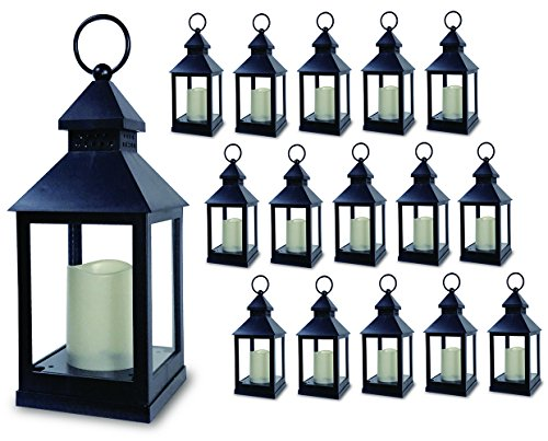 "BANBERRY DESIGNS Decorative Lantern - Set of 16-5 Hour Timer - 9 3/8""H Black Lanterns with Flameless Candles Included - Indoor/Outdoor Lantern Set - Patio Porch Decor"