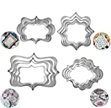 16Pcs Plaque Frame Cookie Cutter Set Square Frame Plaque Fancy Oval Rectangle and Photo Plaques Frame Fondant Cutters Stainless Steel Assorted Sizes