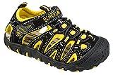 gibra® Kinder Trekking Sandalen mit Klettverschluss, schwarz/gelb, Gr. 34