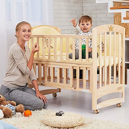 JYXZ Multifunktion Massivholzmit Roller und Wiege Babybetten Kinderbetten für Neugeborene, Babybett & Deluxe Foam Matratze, Wasserabweisende Matratzeneinlage