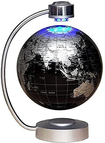 ZSMLB World Globe Dekoration 8 'Magnetic Globe Floating Light Schwarz Magnetic Globe Lampe für Home School Dekoration