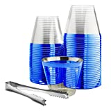 100 Blue Rimmed Plastic Cups and 1 Silver Ice Tong Set - 9 Ounce Disposable Wine Glasses - Plastic Cocktail Cups - Blue Party Decorations - Fancy Blue Party Supplies