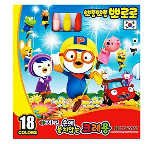 Pororo Unburdened crayon Set 18 Colors for Preschool Kids Boys Girls Gift for Christmas Birthday Korean Stationery Made in Korea