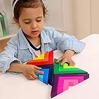 Lewo di Legno Arcobaleno Gioco impilabile Geometria Costruzioni Creativo annidamento Giocattoli educativi Bambini Piccoli #3