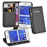 Cadorabo Hülle für Samsung Galaxy ACE 4 LITE in Phantom SCHWARZ - Handyhülle mit Magnetverschluss, Standfunktion & Kartenfach - Hülle Cover Schutzhülle Etui Tasche Book Klapp Style