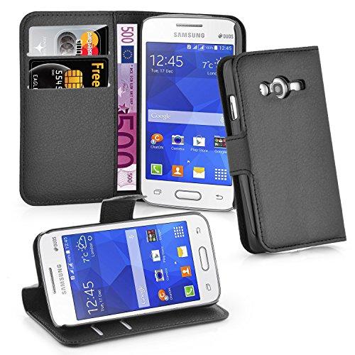 Cadorabo Coque pour Samsung Galaxy ACE 4 Lite en Noir DE Jais - Housse Protection avec Fermoire Magnétique, Stand Horizontal et Fente Carte - Portefeuille Etui Poche Folio Case Cover