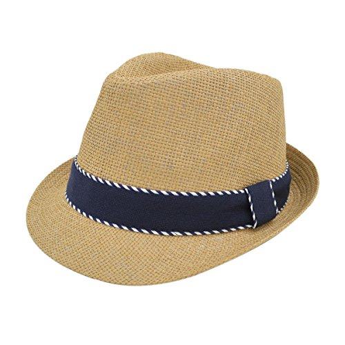 Premium Classic Fedora Straw Hat with Navy Striped Trim Band, Tan