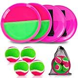 Qrooper Self-Stick Toss and Catch Game Set, Paddles and Toss Ball Sports Game with Paddles, Balls and Storage Bag, Suitable for Kids Gift Idea (Pink)
