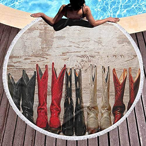 Thick Round Beach Towel Blanket Western Boys Beach Towel American Legend Cowgirl Leather Boots Rustic Wild West Theme Cultural Print Microfiber Beach Towel for Travel Beige Red Black (Diameter 59')
