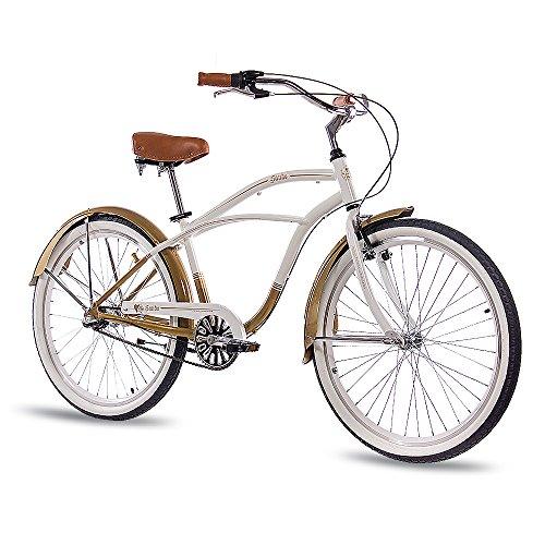 CHRISSON 26 Zoll Beachcruiser Sando Weiss Gold mit 3 Gang Shimano Nexus Nabenschaltung, Damenfahrrad, Herrenfahrrad im Retro Look, Vintage Cruiser Bike