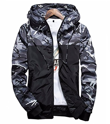 Showlovein Floral Bomber Jacket Men Hip Hop Slim Fit Flowers Bomber Jacket Coat Men's Hooded Jackets Grey