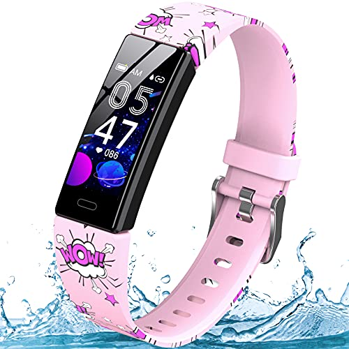 YEGKGO Fitness Tracker for Kids Girls Boys Teens, IP68 Waterproof Activity Tracker with Pedometer Calorie Counter, Heart Rate & Sleep Monitor Fitness Watch, Call & SMS Reminder, Gift for Kids