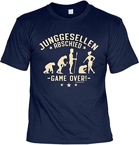 Junggesellen T-Shirt mit Urkunde Junggesellen Abschied - Game Over Junggeselle Shirt Junggeselle Poltern Polterabend Leiberl