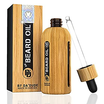 Da'Dude Da Beard Oil for Men, Pure Plant Based Beard Softener for Men with Natural Oils in a Unique Bamboo Bottle 50ml
