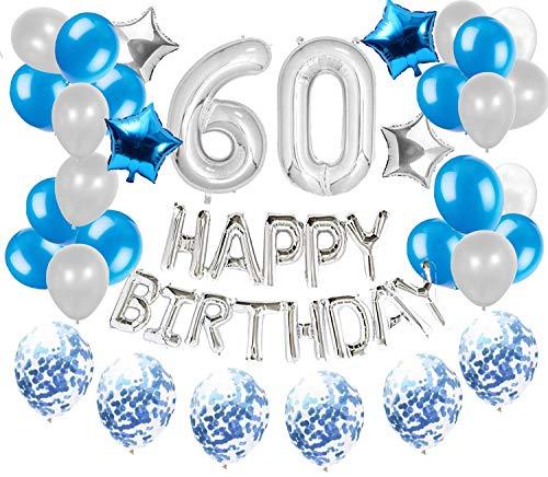 JeVenis 36 PCS Argent Bleu 60ème Anniversaire Décorations Articles De Fête 60 Ballons d'anniversaire Joyeux Anniversaire Ballon Bannière 60 Décorations d'anniversaire