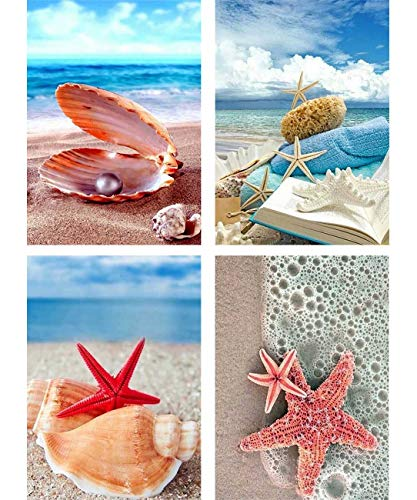 Palodio 5D Diamond Painting Kits Shell Starfish, Paint with Diamonds Art Beach Paint by Numbers Full Round Drill Cross Stitch Crystal Rhinestone Home Wall Decoration 12x16 inch (4 Pack)