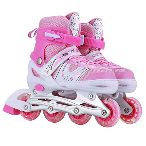 Kids Adjustable Inline Skates, Perfect First Skates for Girls and Boys with All Illuminating Wheels, Youth Children's Indoor&Outdoor Ice Skating Equipment. (Pink, Small-Little Kids)