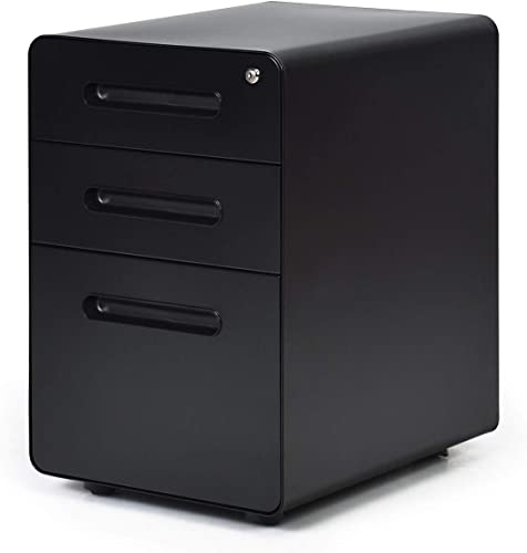 Giantex 3-Drawer Mobile File Cabinet W/Removable Tray and Hanging Drawer for Home Office Legal/Letter/A4 Size Files Storage,Metal Locking and Rolling Filing Cabinet (Black)
