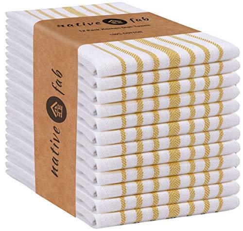 Native Fab Juego de 12 Trapos de Cocina algodón 100%, Absorbente Toallas de té, Toallas de Bar, Lavable a máquina Paños de Cocina 36 x 64 cm Blanco y Amarillos