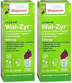 Walgreens Children's Wal-Zyr All Day Allergy Oral Solution Grape Flavor, 4 oz (Pack of 2)