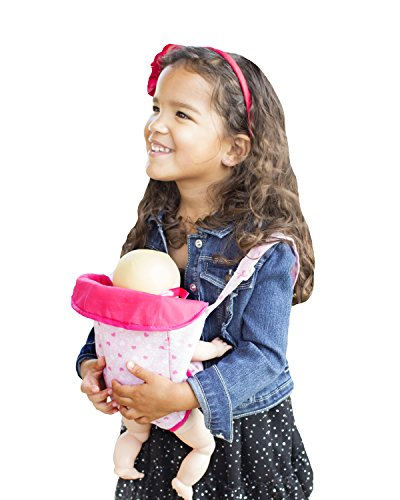 BeeBopBaby Baby Doll Carrier, Best Front Snuggle Carrier, Pink Hearts, Pretend Mommy Doll Sling, Fits Multiple Size Dolls up to 18 inches