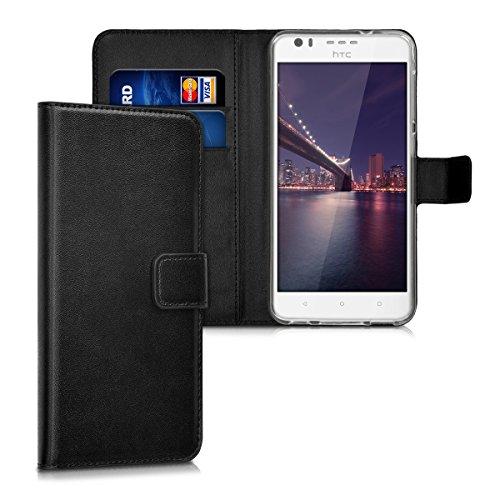 kwmobile Hülle kompatibel mit HTC Desire 10 Lifestyle - Kunstleder Wallet Hülle mit Kartenfächern Stand in Schwarz