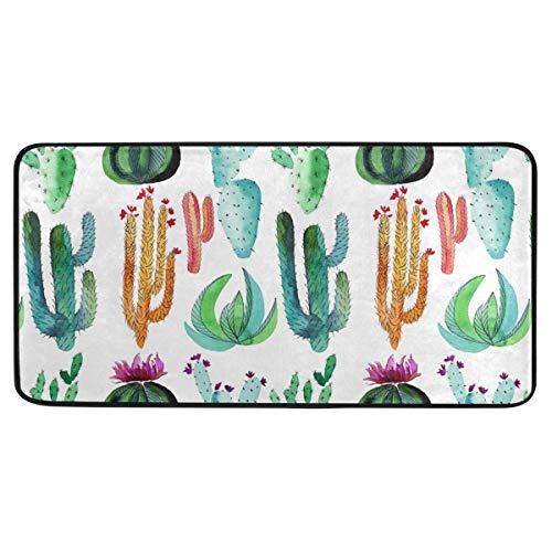 Bardic anti-slip deurmat Kleurrijke Cactus Plant Watermeloen Deurmat Machine Wasbare Slaapkamer Mat Voor Woon-Dineren Kamer Slaapkamer Keuken,50.8x99cm