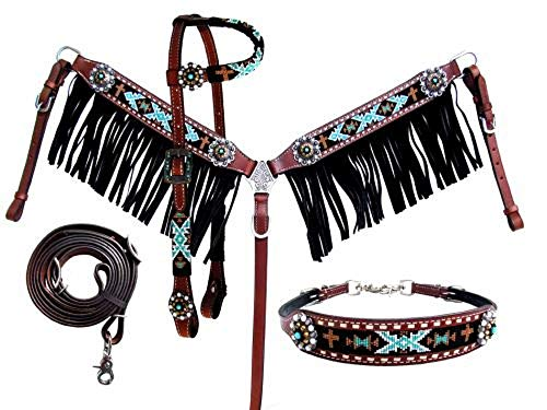 Showman 4 PC Teal Black Beaded Medium Leather Horse Bridle Breast Collar Wither Strap