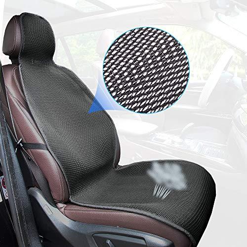 ZATOOTO Auto Coprisedili Universali per Sedili Anteriore, CoprisedileAntisudore/Traspirante per L'Estate, Buon Sedile per Veicoli di Protezione, Nero (1 pz)