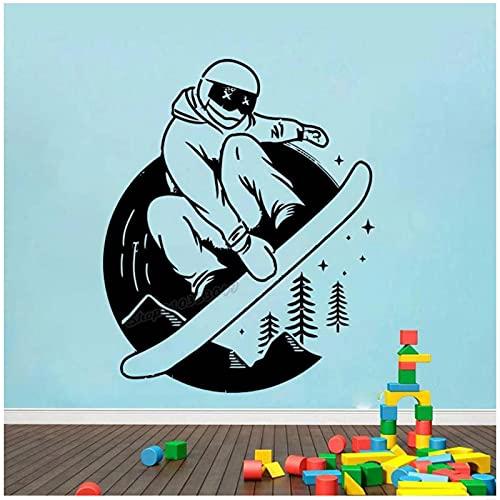 WYLYSD Snowboard Wandtattoo Wintersport Extremsport Board Motivation Gesunde Wandaufkleber Home Room Decor Art Decal 70X57Cm