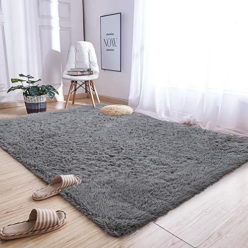 Soft Fluffy Bedroom Area Rugs - 5 x 8 Feet Modern Plush Rug for Boys Kids College Dorm Living Room Nursery Home Decor Large Floor Carpet by AND BEYOND INC, Grey