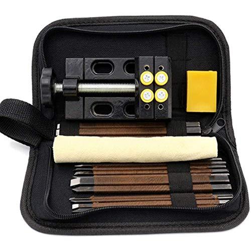 Juego de tijeras de cortar, 14 piezas de cuchillo de corte de piedra de acero al manganeso, juego de herramientas de tallado de piedra de jade con bolsa de tela de almacenamiento portátil