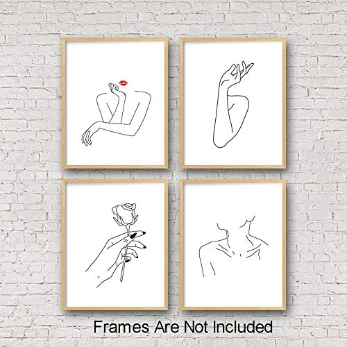 """Nordic Fashion Women Art Print Set of 4 (8""""X10"""" Stick Figure Printing Gift for Women Canvas Rose Prints Wall Pictures for Bedroom Home Decor,No Frame"""