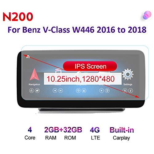 Android Radio Car Stereo Built-In Wireless Carplay 10.25/12.5 Pulgadas GPS Navegación para Benz V-Class W446 2016 to 2018 Coche Audio FM/Am/RDS Radio Video Player Bluetooth SWC 4G WiFi,N200