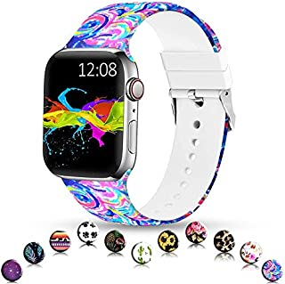Sunnywoo Sport Band Compatible with Apple Watch 38mm 40mm 42mm 44mm, Soft Silicone Floral Fadeless Strap Replacement Bands for iWatch Series 4, Series 3, Series 2, Series 1 (Painting, 38MM/40MM)