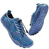 Miqieer Zapatos de Agua Hombres Playa Escarpines Antideslizante Zapatillas de Deportes Acuáticos Buceo Surf, Azul,46 EU
