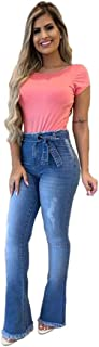 Calça Jeans Feminina Clochard Com Cinto Barra Desfiada