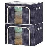 F.P.L Oxford Cloth Steel Frame Storage Box Foldable Storage Bag Clothing Storage Bin Organizer for Clothes Blankets Comforters(66L Navy Blue 2PCS)
