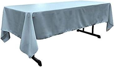 LA Linen Polyester Poplin Rectangular Tablecloth, 60 by 126-Inch, Blue light