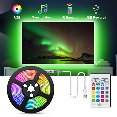 USB Striscia LED TV, TASMOR 2M Retroilluminazione TV LED Striscia RGB, 16 Colori e 4 Modalità Impermeabile Nastri LED per HDTV da 40-60 Pollici, PC Monitor ecc