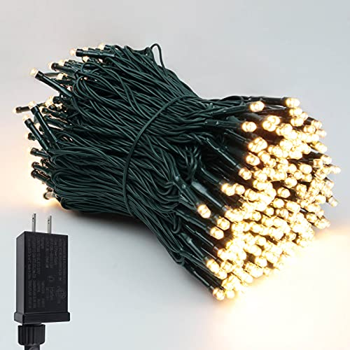 Super-Long Green Wire 147FT 400 LED Christmas String Lights, Ultra-Bright Outdoor Lights Waterproof 8 Modes Plug in Fairy String Lights for Garden Wedding Party (Warm White)