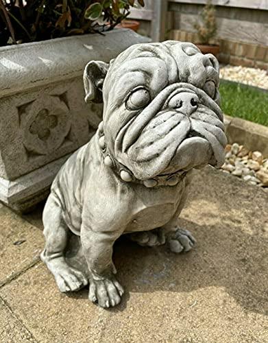 Estatua de piedra de Bulldog Inglés Británico   Animal Dog Puppy Adorno de jardín al aire libre